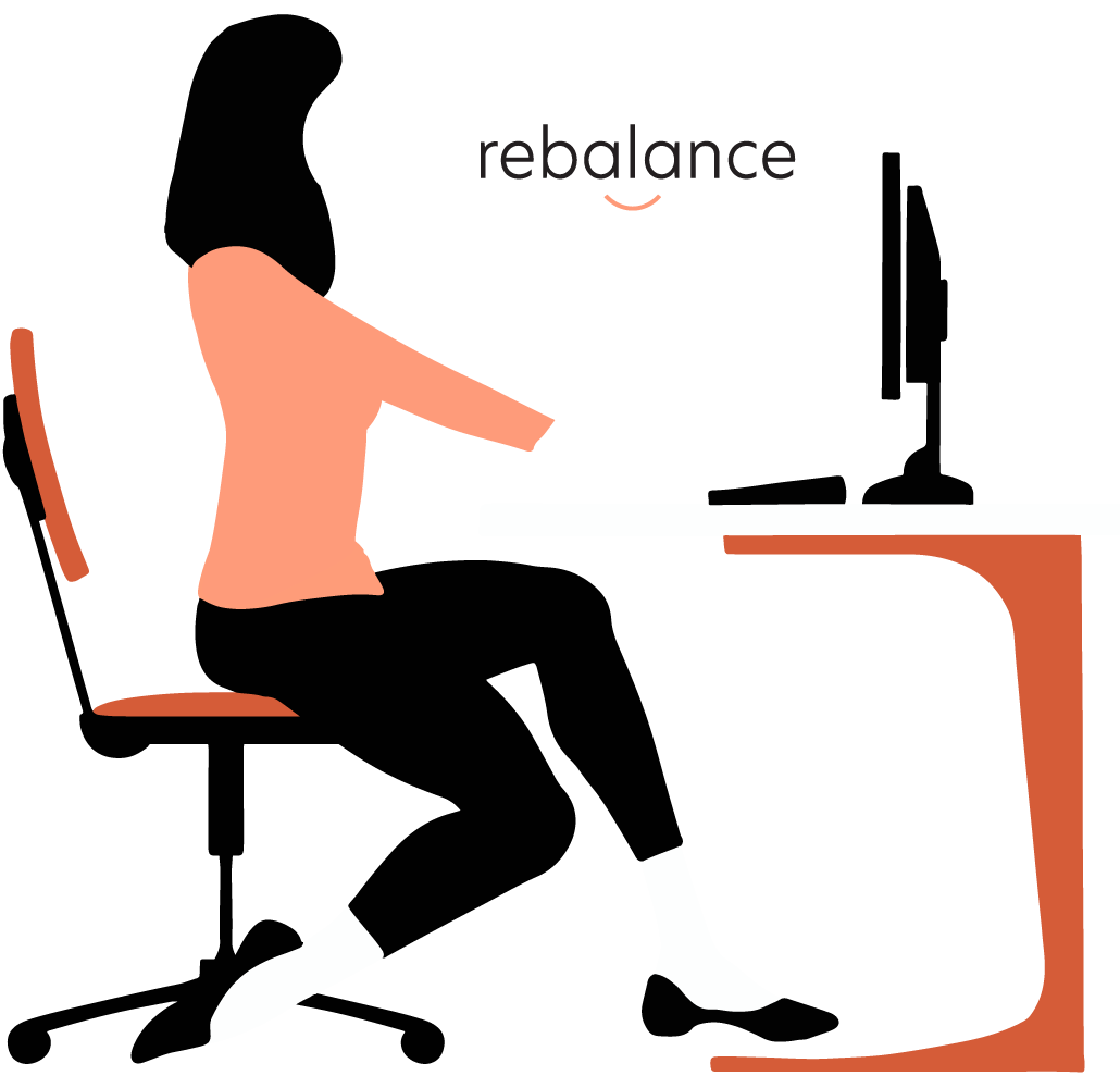 A woman at her work desk being reminded to use rebalance
